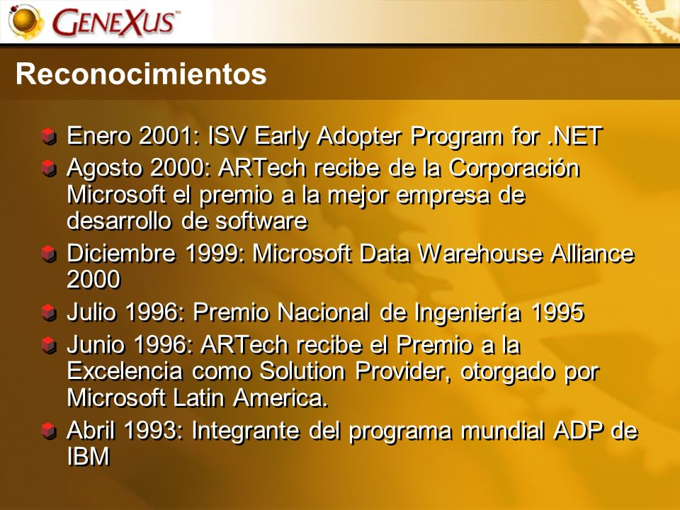 Reconocimientos Enero 2001: ISV Early Adopter Program for .NET