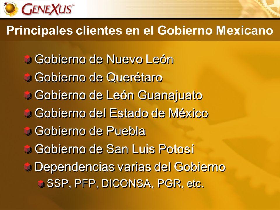 Principales clientes en el Gobierno Mexicano