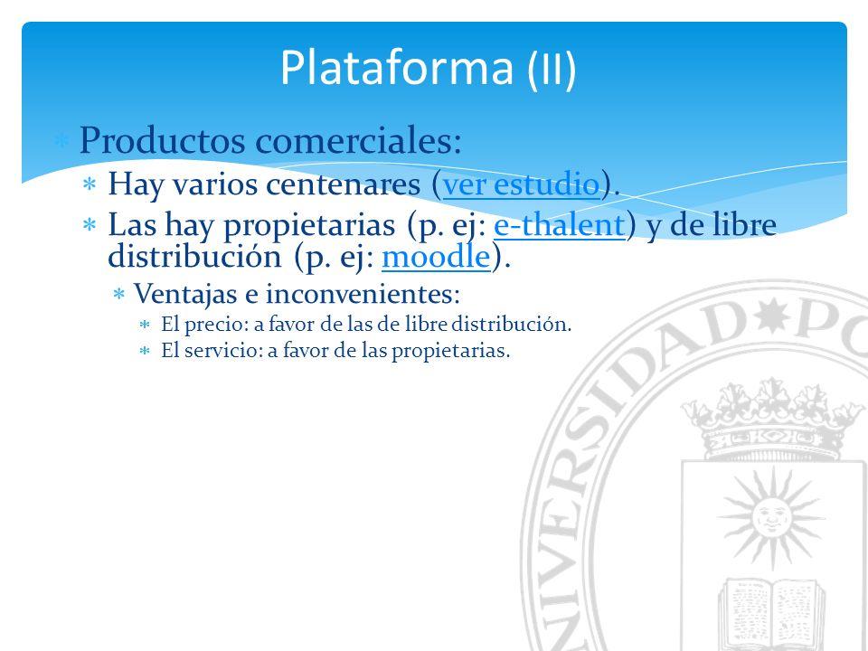Plataforma (II) Productos comerciales: