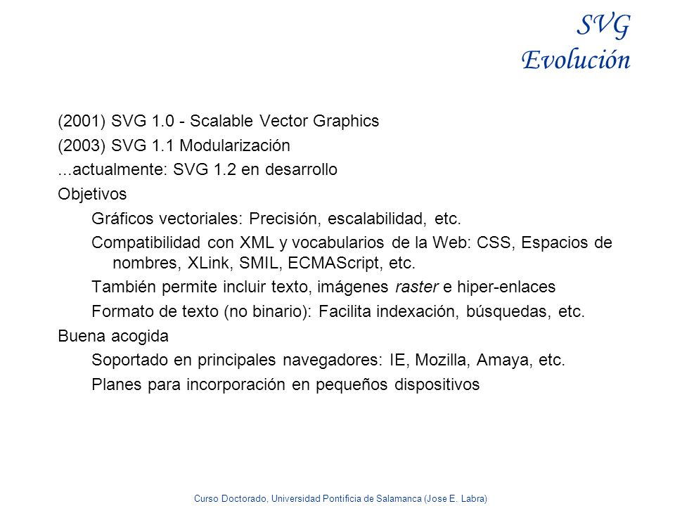 SVG Evolución (2001) SVG 1.0 - Scalable Vector Graphics