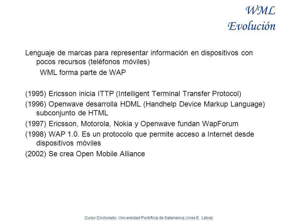 WML Evolución Lenguaje de marcas para representar información en dispositivos con pocos recursos (teléfonos móviles)