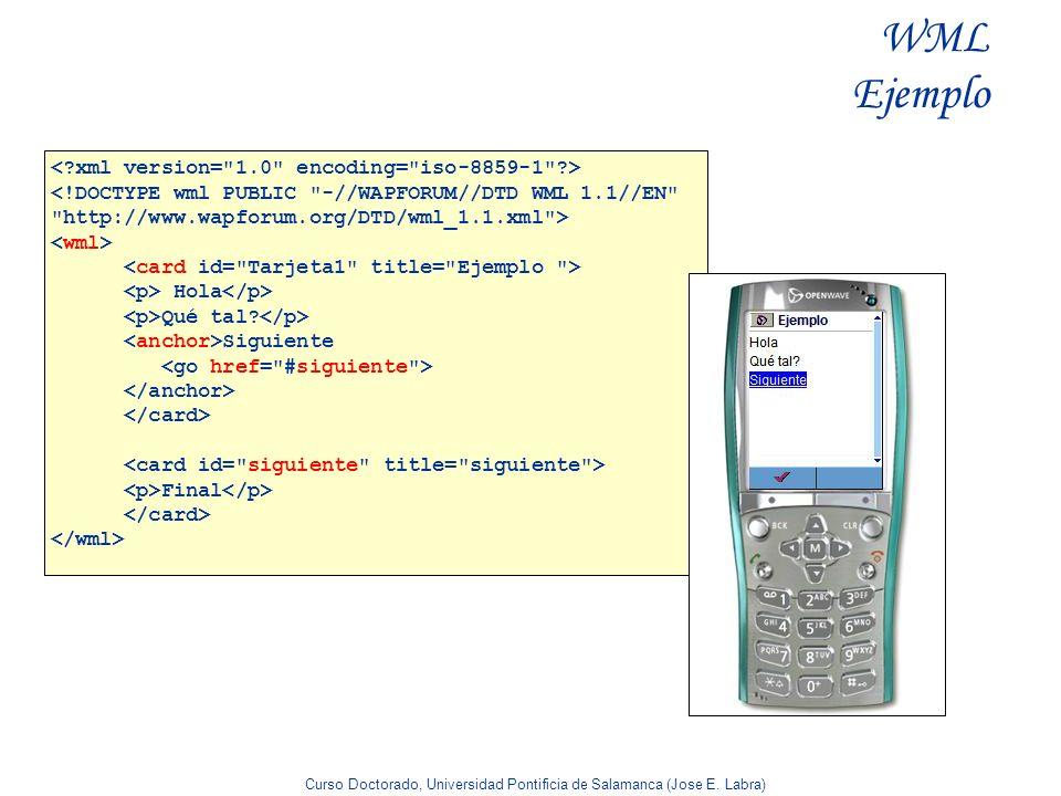 WML Ejemplo < xml version= 1.0 encoding= iso-8859-1 >