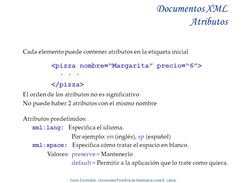 Documentos XML Atributos