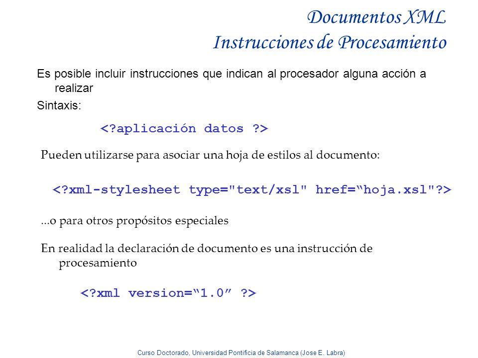 Documentos XML Instrucciones de Procesamiento