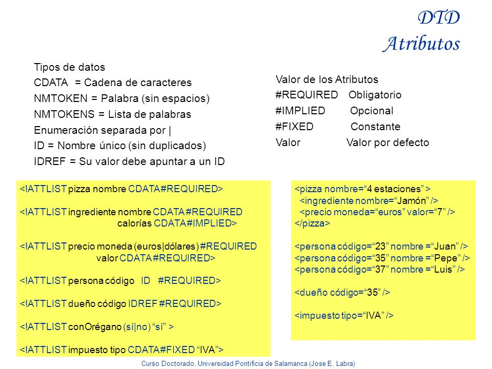 DTD Atributos Tipos de datos CDATA = Cadena de caracteres