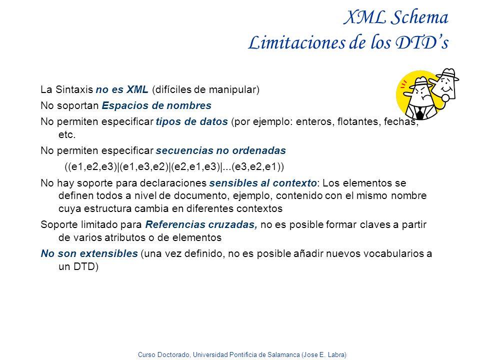 XML Schema Limitaciones de los DTD's