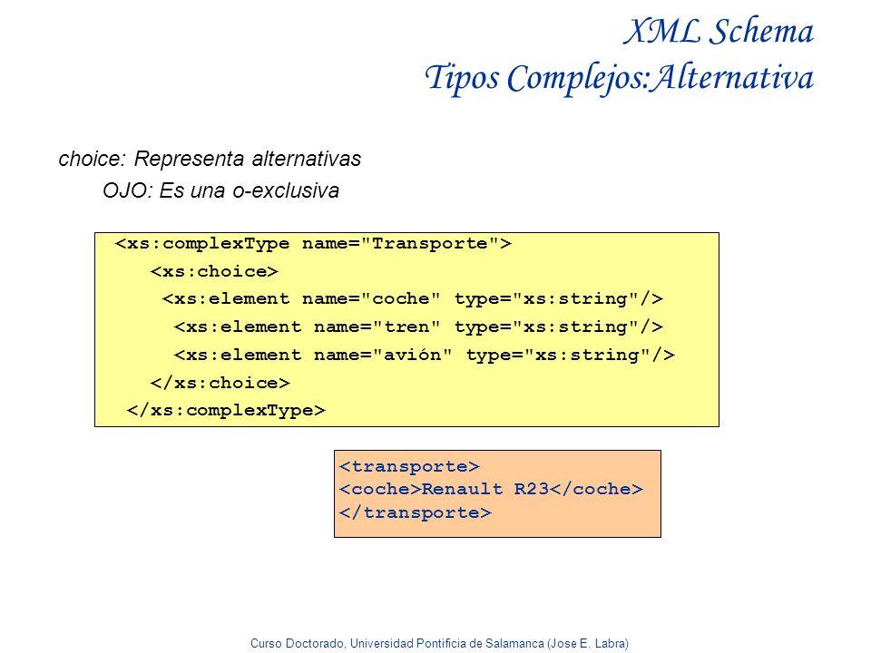 XML Schema Tipos Complejos:Alternativa