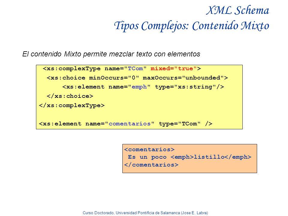 XML Schema Tipos Complejos: Contenido Mixto