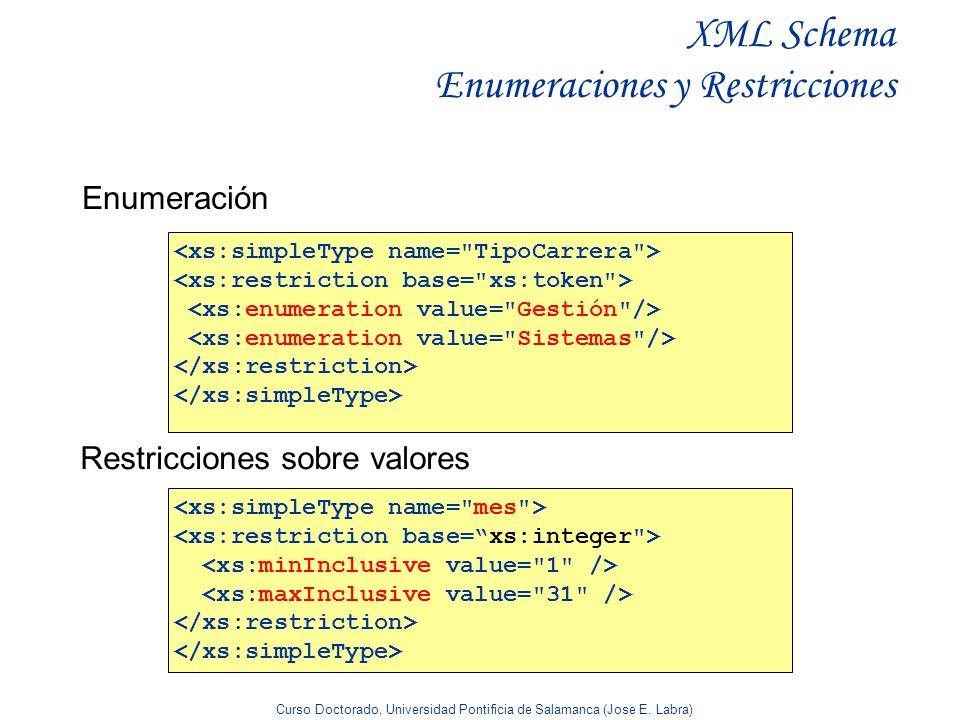 XML Schema Enumeraciones y Restricciones