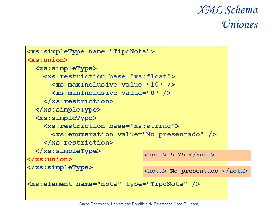 XML Schema Uniones <xs:simpleType name= TipoNota >