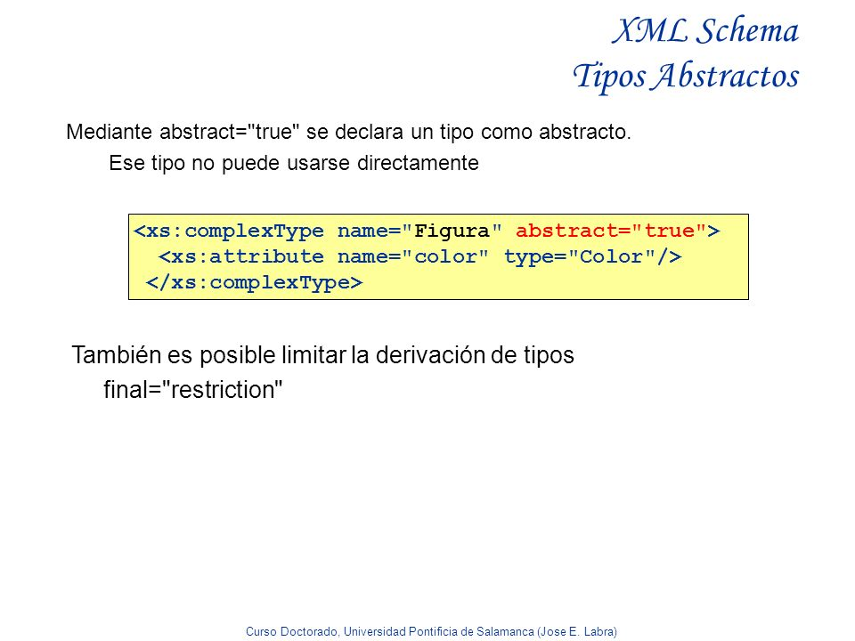 XML Schema Tipos Abstractos