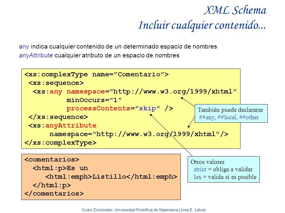 XML Schema Incluir cualquier contenido...