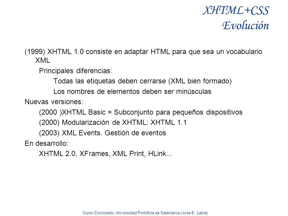 XHTML+CSS Evolución(1999) XHTML 1.0 consiste en adaptar HTML para que sea un vocabulario XML. Principales diferencias: