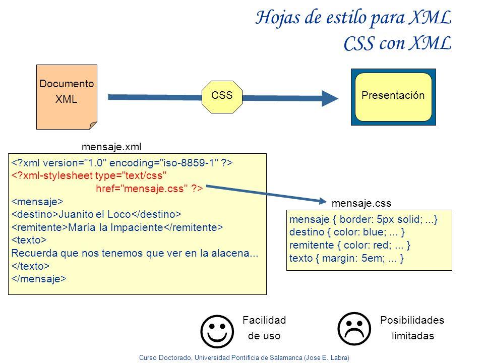 Hojas de estilo para XML CSS con XML