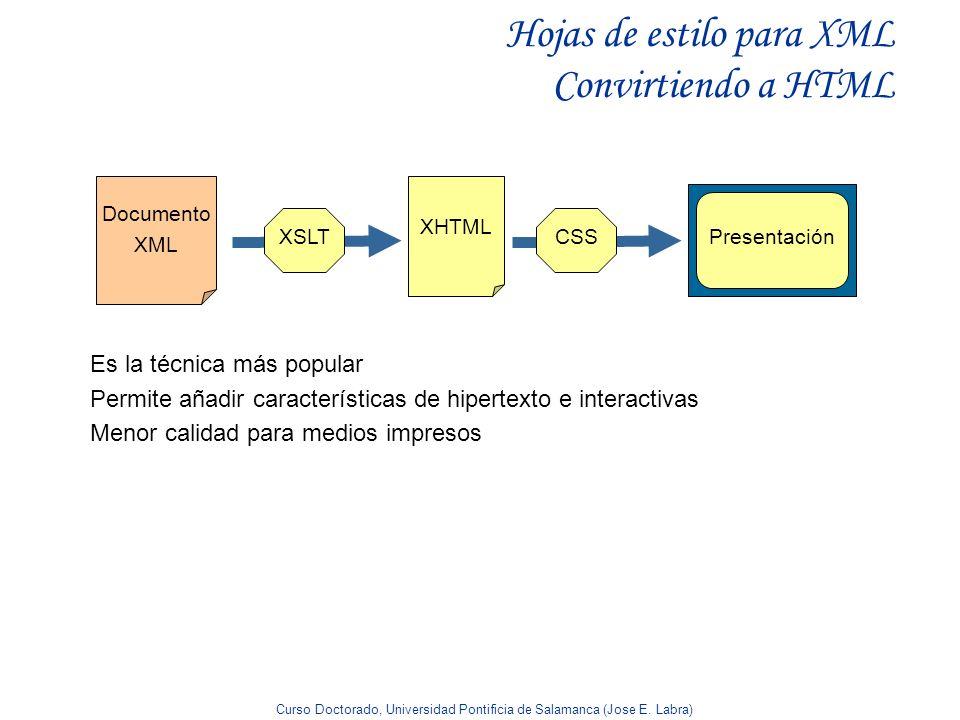 Hojas de estilo para XML Convirtiendo a HTML