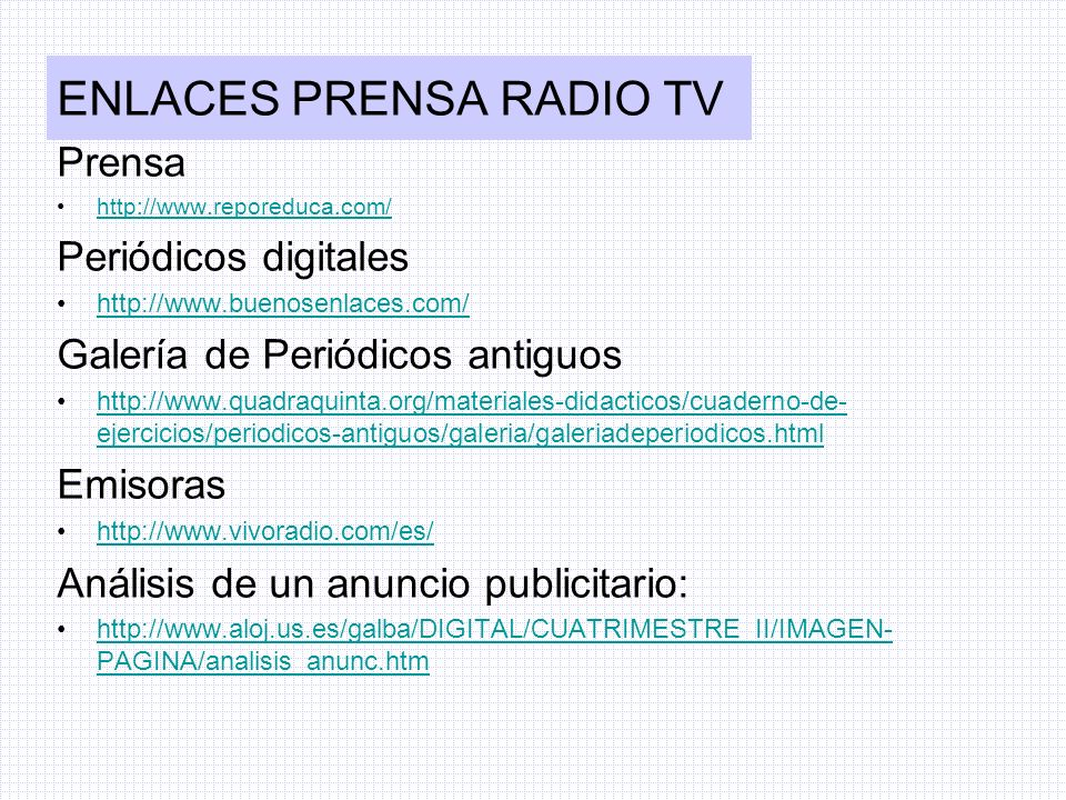 ENLACES PRENSA RADIO TV