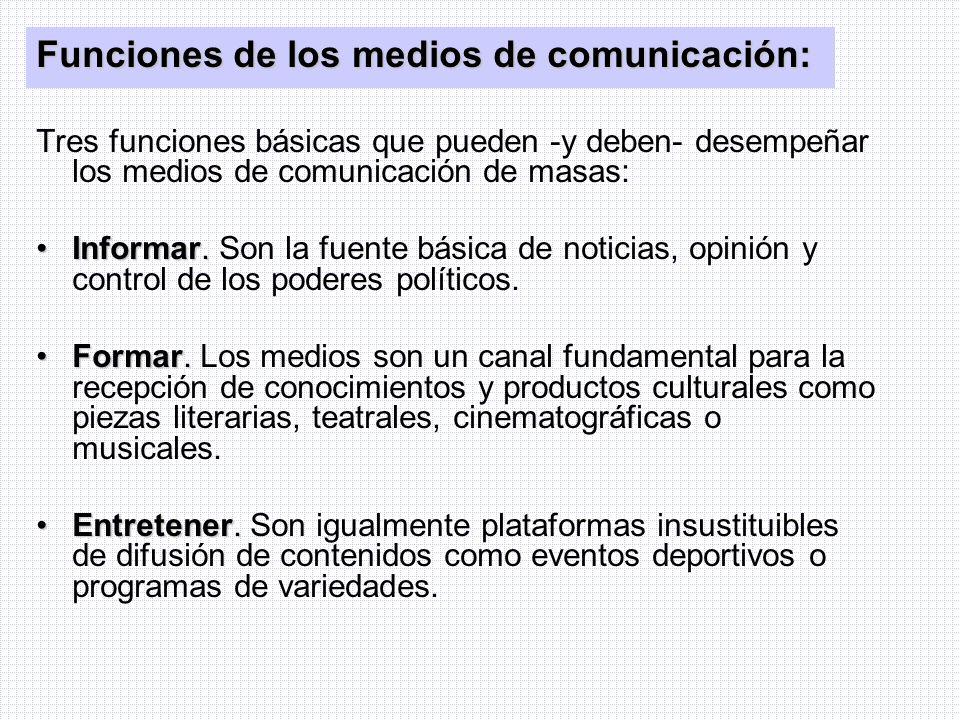 Funciones de los medios de comunicación: