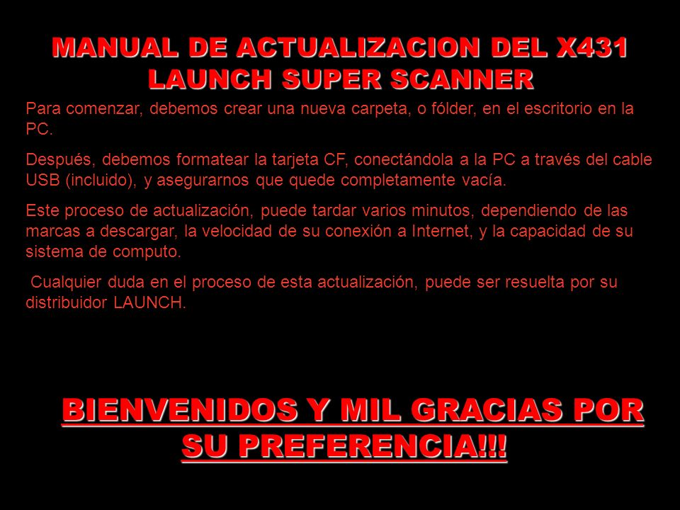 MANUAL DE ACTUALIZACION DEL X431 LAUNCH SUPER SCANNER