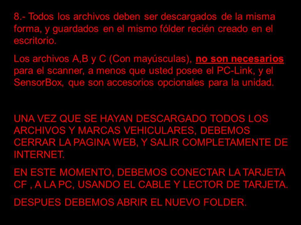 8.- Todos los archivos deben ser descargados de la misma forma, y guardados en el mismo fólder recién creado en el escritorio.