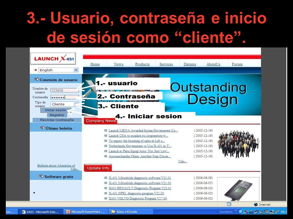 3.- Usuario, contraseña e inicio de sesión como cliente .