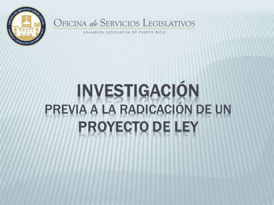 previa a la radicación de un proyecto de ley