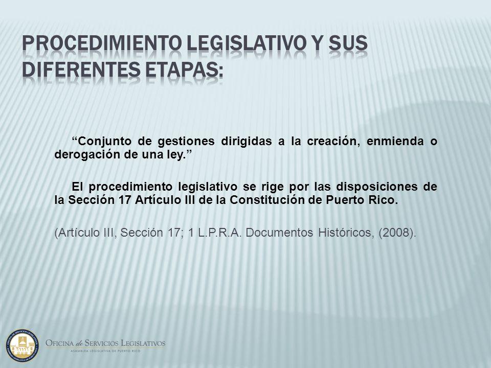 Procedimiento Legislativo y sus diferentes etapas: