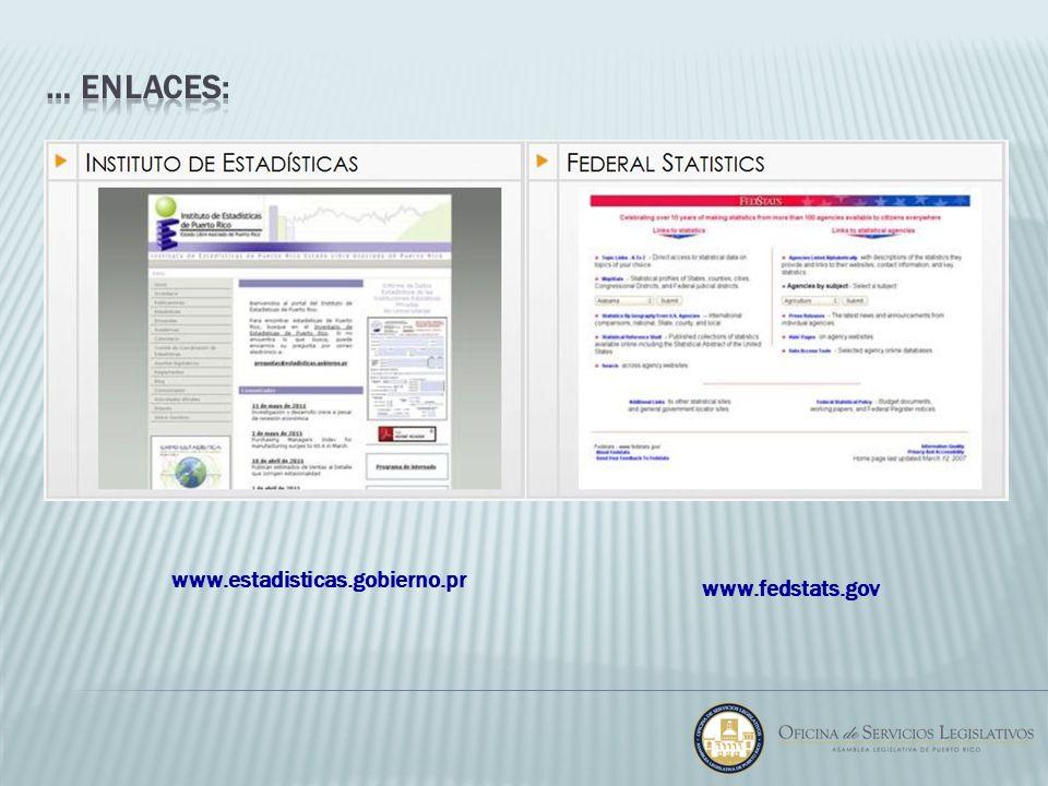 … enlaces: www.estadisticas.gobierno.pr www.fedstats.gov