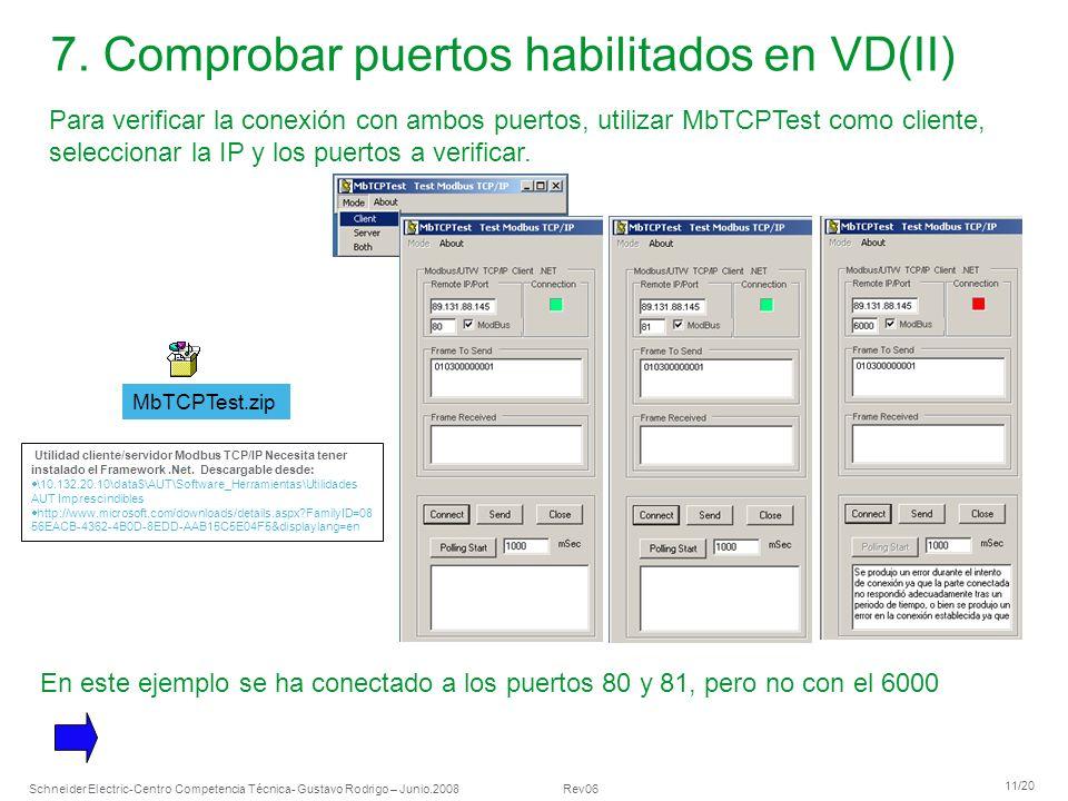 7. Comprobar puertos habilitados en VD(II)