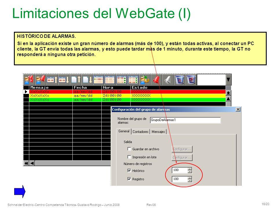 Limitaciones del WebGate (I)