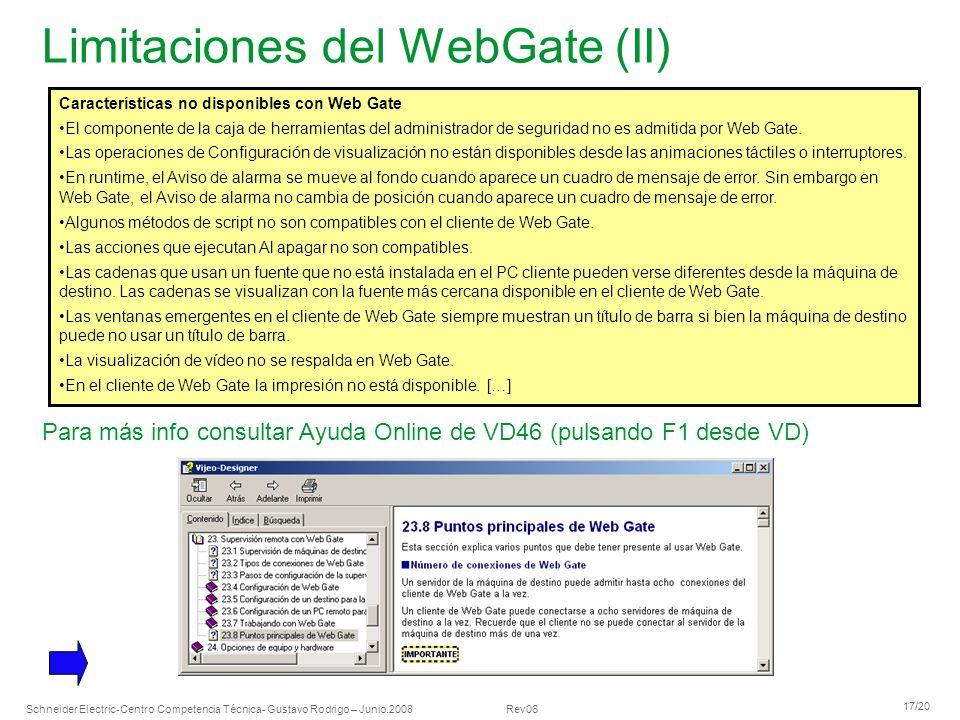 Limitaciones del WebGate (II)