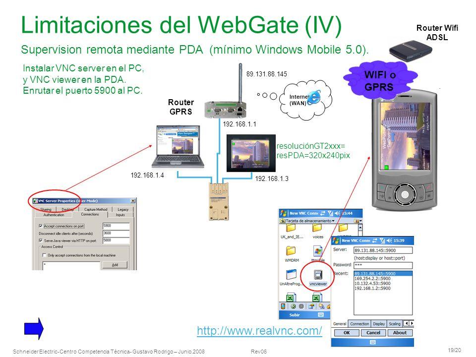 Limitaciones del WebGate (IV)