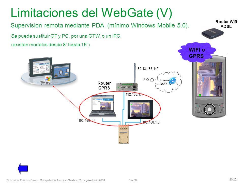 Limitaciones del WebGate (V)