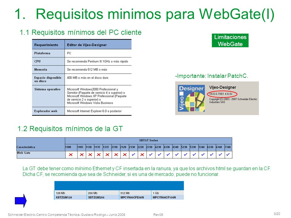 Requisitos minimos para WebGate(I)