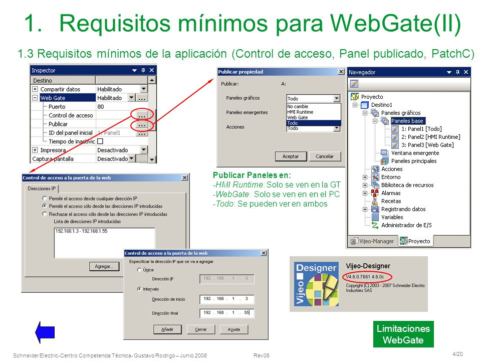 Requisitos mínimos para WebGate(II)