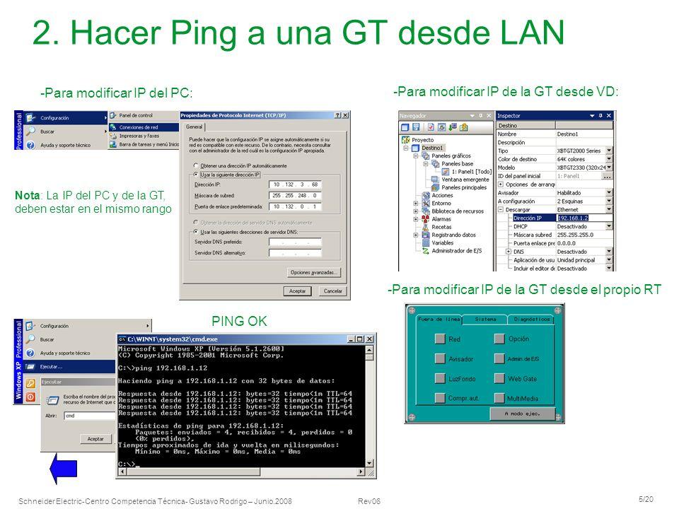 2. Hacer Ping a una GT desde LAN