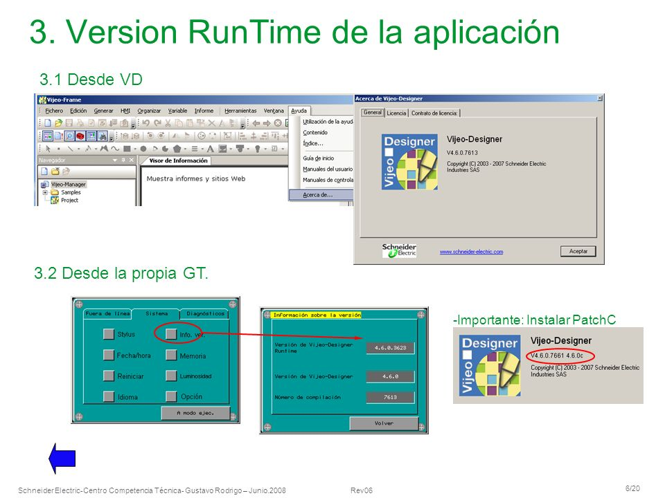3. Version RunTime de la aplicación
