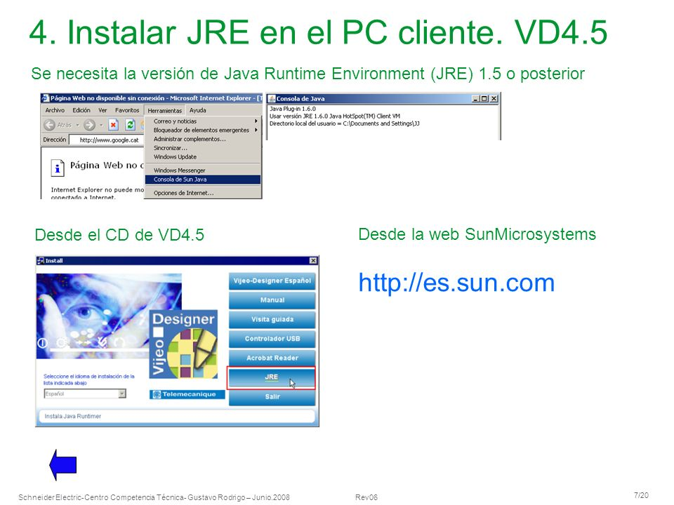 4. Instalar JRE en el PC cliente. VD4.5
