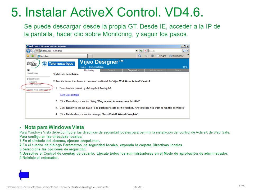 5. Instalar ActiveX Control. VD4.6.