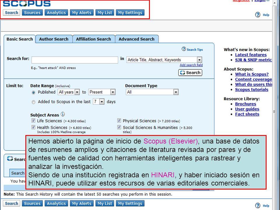 Hemos abierto la página de inicio de Scopus (Elsevier), una base de datos de resumenes amplios y citaciones de literatura revisada por pares y de fuentes web de calidad con herramientas inteligentes para rastrear y analizar la investigación.