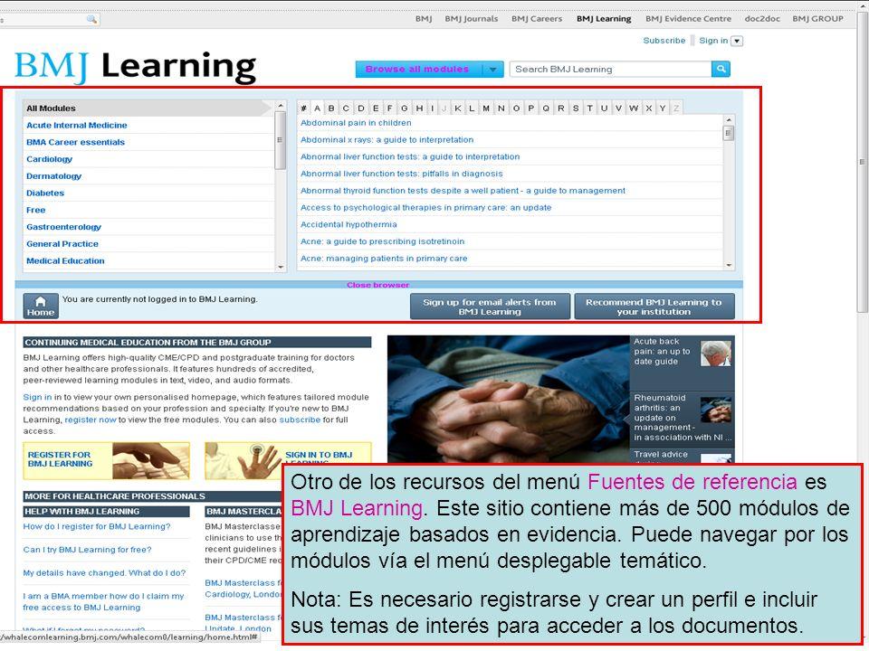 Otro de los recursos del menú Fuentes de referencia es BMJ Learning