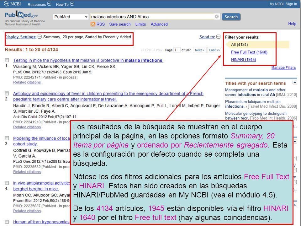 Los resultados de la búsqueda se muestran en el cuerpo principal de la página, en las opciones formato Summary, 20 ítems por página y ordenado por Recientemente agregado. Esta es la configuración por defecto cuando se completa una búsqueda.