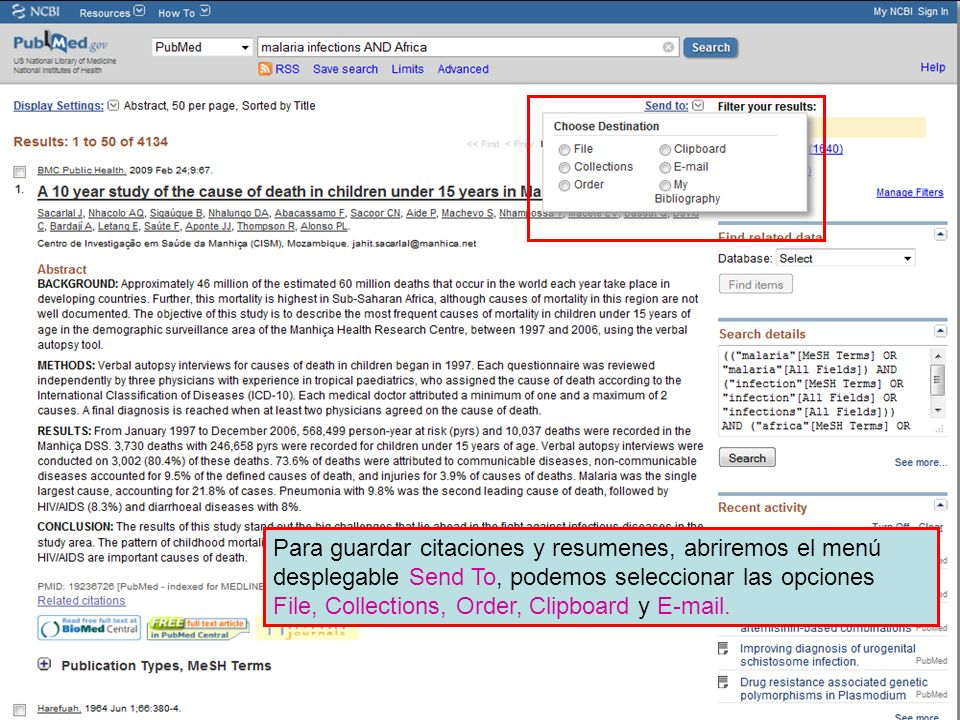 Para guardar citaciones y resumenes, abriremos el menú desplegable Send To, podemos seleccionar las opciones File, Collections, Order, Clipboard y E-mail.