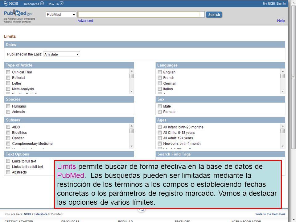 En las diapositivas siguientes, vamos a destacar algunas de las opciones de límites que son de valor incalculable para completar búsquedas precisas en PubMed. Una revisión más amplia de los límites es hace en el Módulo 4.2 en la página de capacitación de HINARI. Para acceder a ese módulo, vaya a http://www.who.int/hinari/training/es/index.html