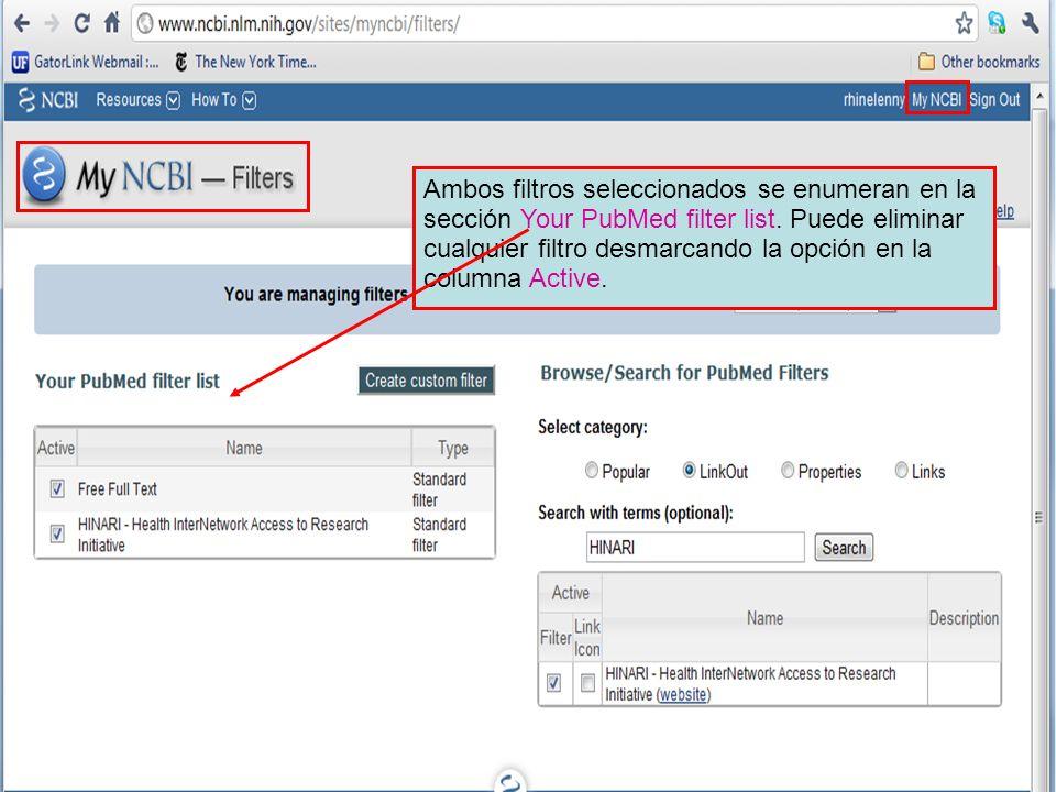 Ambos filtros seleccionados se enumeran en la sección Your PubMed filter list.