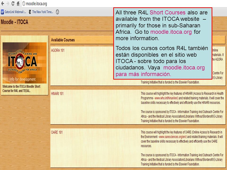 All three R4L Short Courses also are available from the ITOCA website – primarily for those in sub-Saharan Africa. Go to moodle.itoca.org for more information.