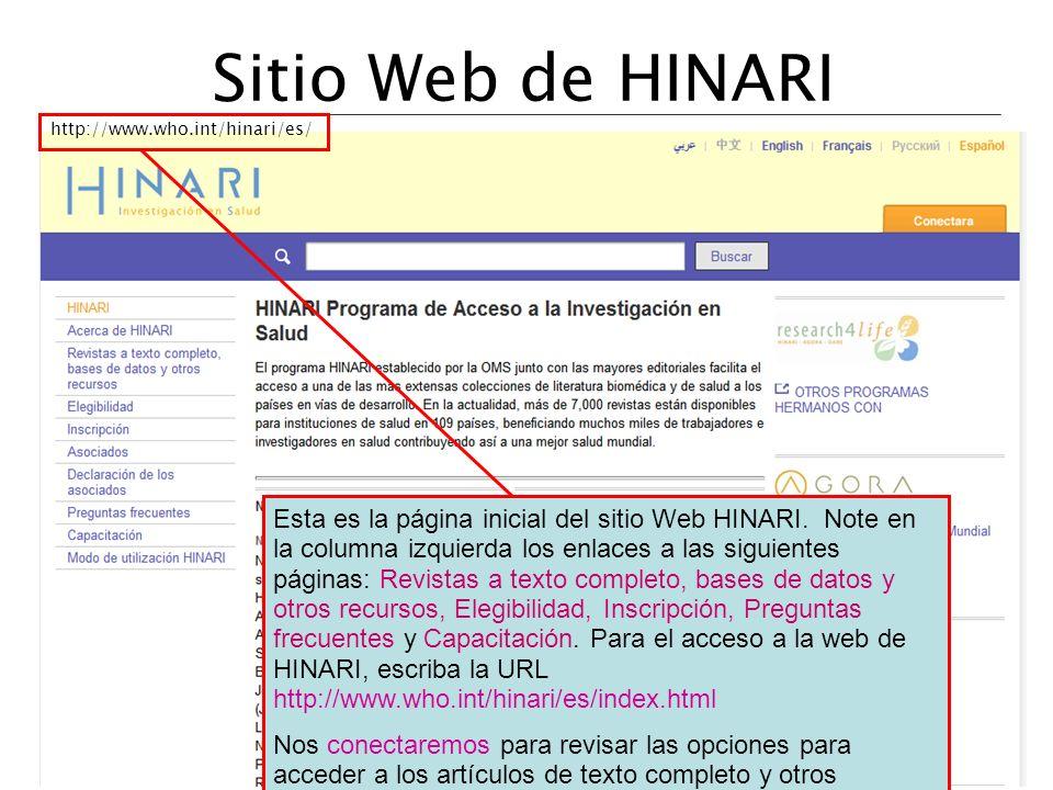 Sitio Web de HINARI http://www.who.int/hinari/es/