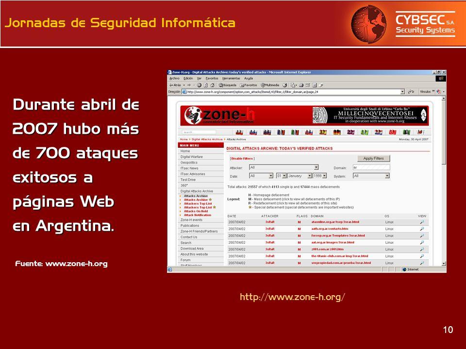 Durante abril de 2007 hubo más de 700 ataques exitosos a páginas Web