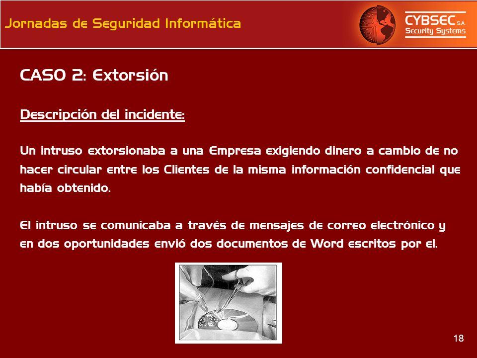 CASO 2: Extorsión Descripción del incidente: