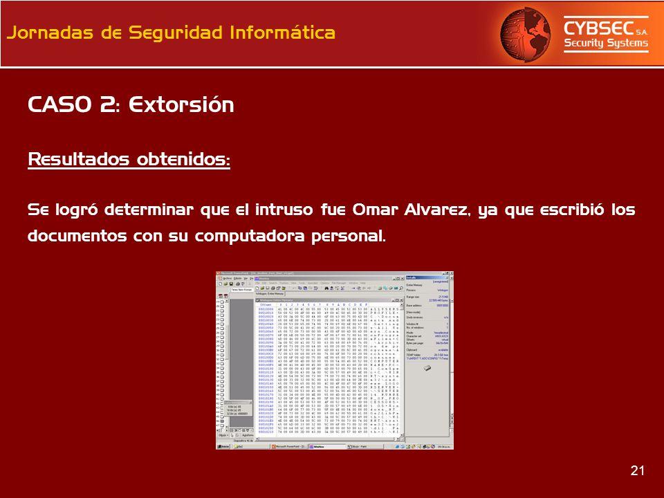 CASO 2: Extorsión Resultados obtenidos: