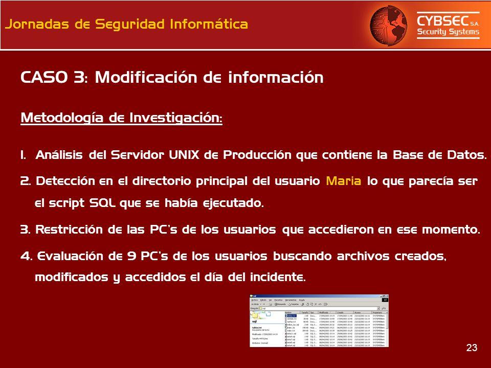 CASO 3: Modificación de información